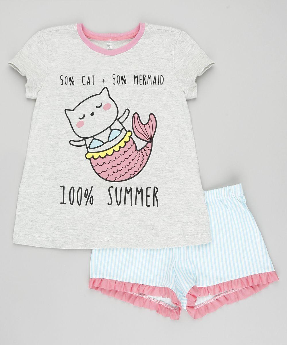 Pijama Infantil Gato Sereia Manga Curta com Estampa Listrada Cinza ... 5b0c0c69e34