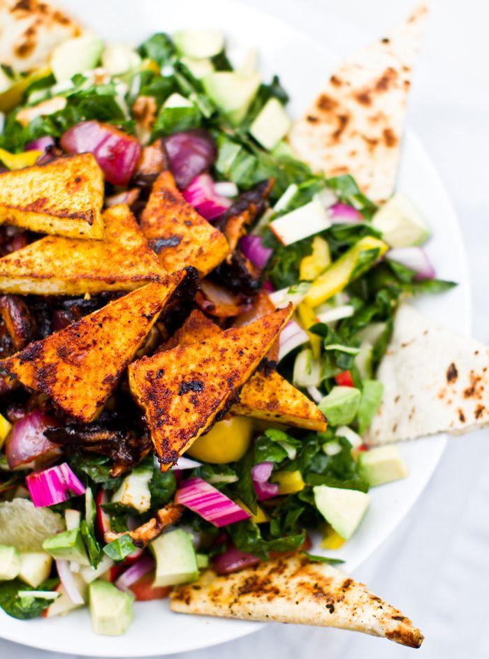 Color Splash Chard Salad. BBQ Shiitakes, Tofu & Quesadillas #vegan Use gluten free tortillas etc