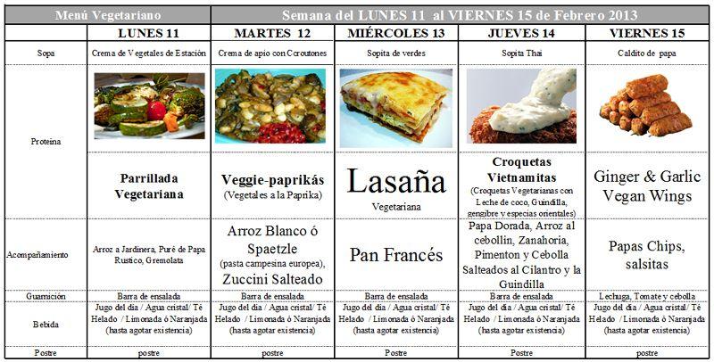 Menú Vegetariano comedor escolar de Febrero 11 a 15 | vegano ...