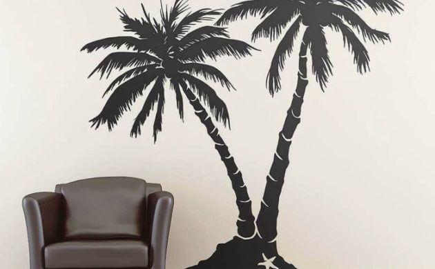 Wohnzimmer Palme ~ Wandtattoos baum palme ledersessel dekoideen wohnzimmer