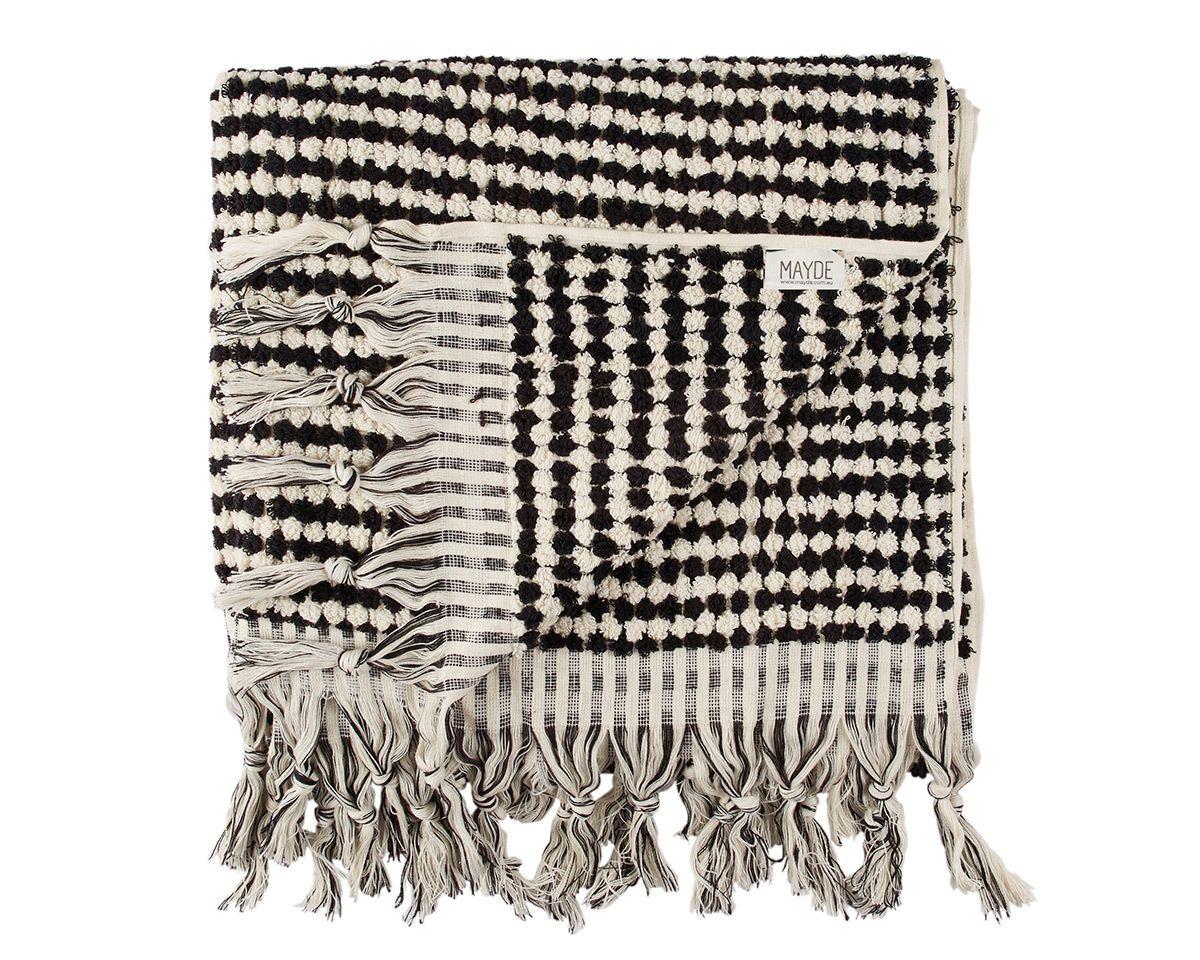 Crescent towel black & white Turkish towels, White