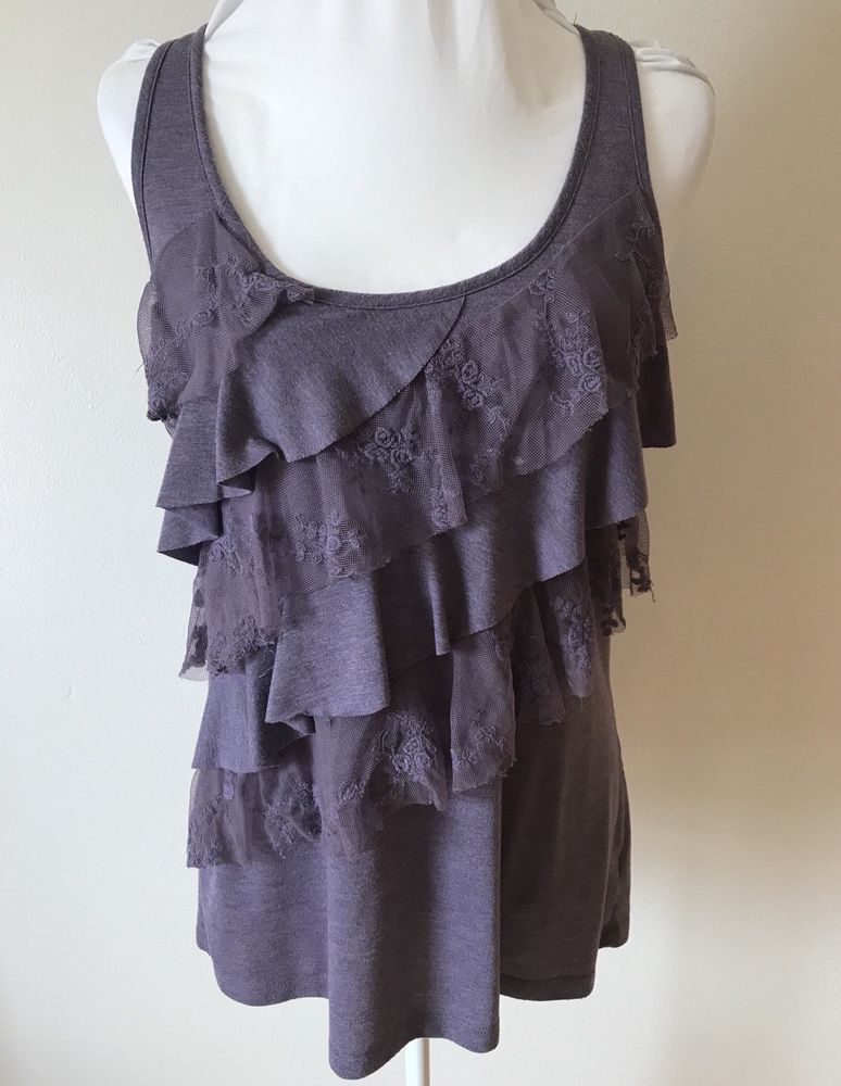 c45d55a1562f14 XL MAURICES Purple Lace Knit Ruffled Tank Top Sleeveless Knit Shirt   Maurices  TankTop