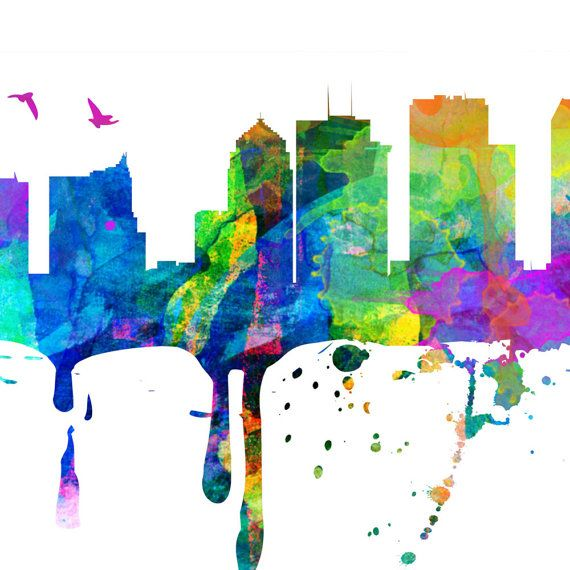 Tampa Skyline, Watercolor, Tampa map, Tampa art, Tampa print, Tampa ...