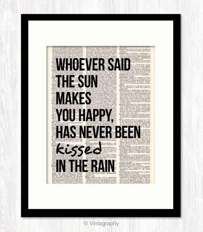 Love Quote Typographic Art Poster Print KISSED In THE RAIN