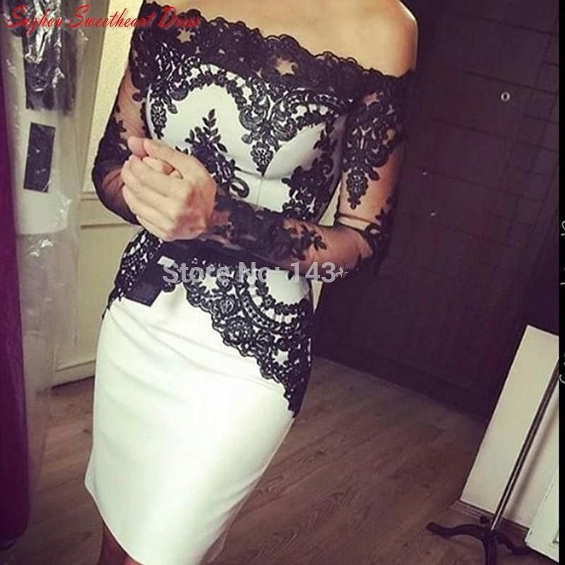 Dressgirl Schwarz Cocktailkleider 2017 Mantel Mit Langen Ärmeln Satin Appliques Spitze Short Mini Homecoming Kleider //Price: $US $55.10 & FREE Shipping //     #dazzup