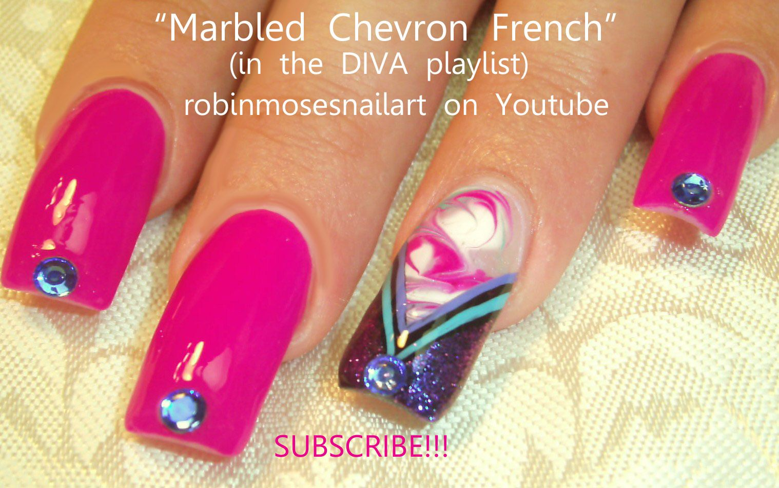Nail-art by Robin Moses FUCHSIA NO WATER MARBLE~ http://www.youtube ...