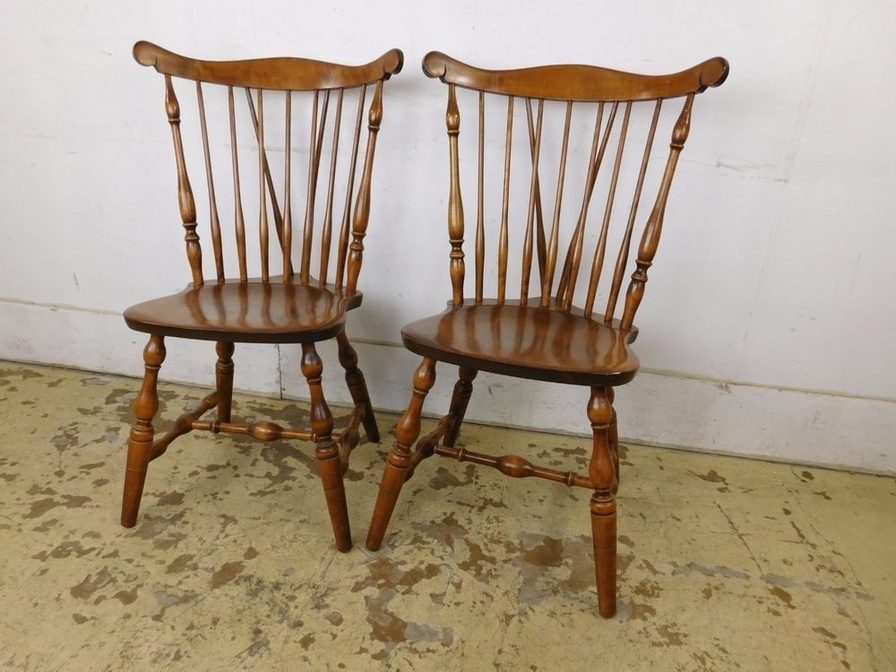 Pair Antique Style Bent Bros Brothers Brace Back Windsor Chairs Solid Maple