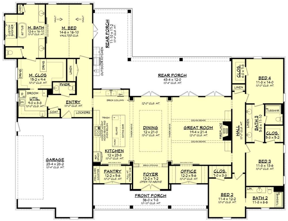 Farmhouse Style House Plan 4 Beds 3 5 Baths 3076 Sq Ft Plan 430 197 Modern Farmhouse Plans Family House Plans House Plans