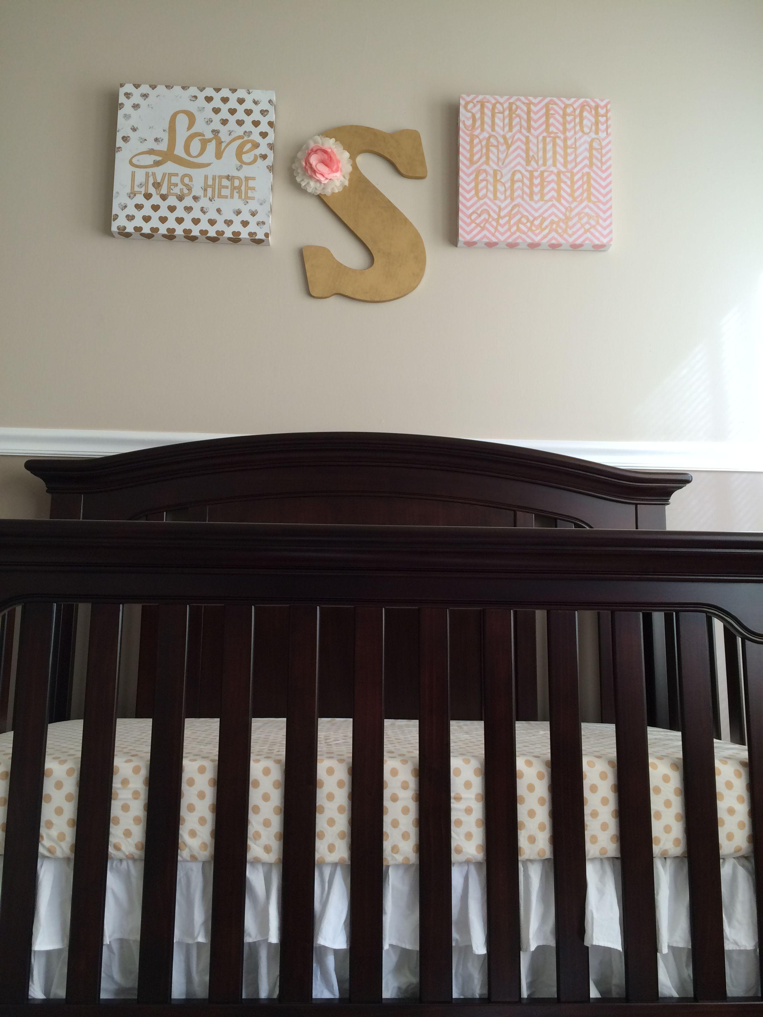 Baby Girl Nursery Golds, Pinks, Neutrals #nursery #babygirl #babygirlnursery #pink #pinkandgold #neutralnursery #girlnursery #sage #sagemichael