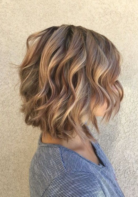 Low Lights Soft Caramel Highlights With A Layered Bob Short