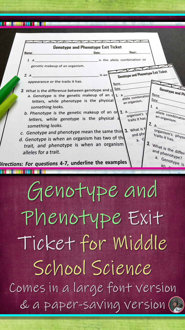 The Genetic Makeup Of An Organism Genotype And Phenotype Exit Ticket A Genetics Assessment