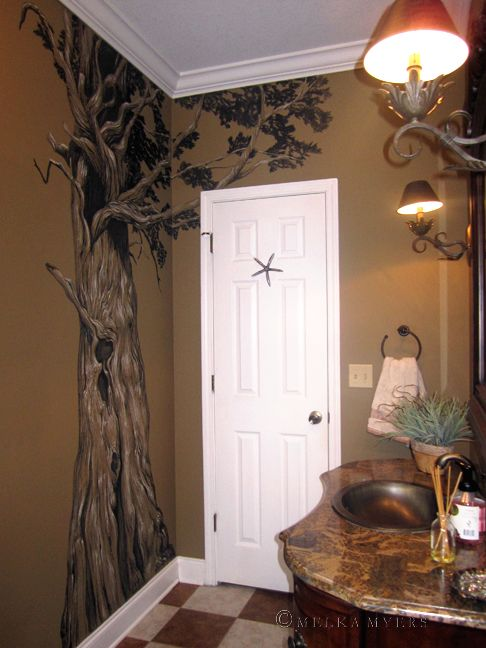 Cypress tree mural bathroom painting drawing on walls for Mural painting ideas