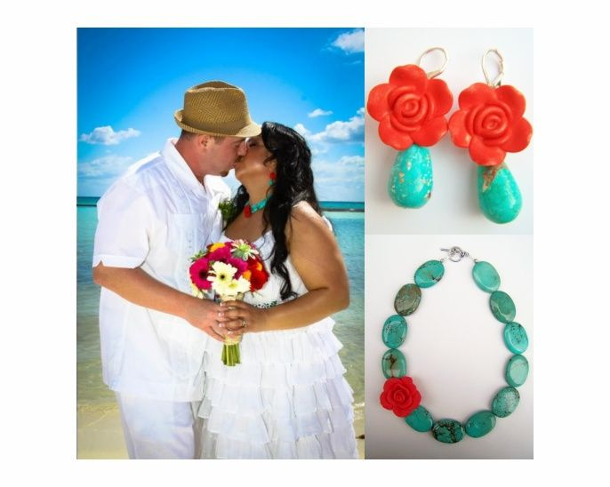 Polished two Frida Kahlo necklace and Earrings.. perfect for a beach wedding! <3