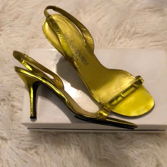 69e8267a YSL Sandals Authentic Yves Saint Laurent Slingback Sandals. Yellow ...