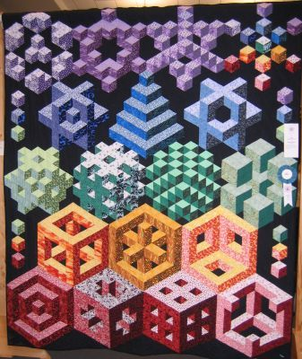 Cubic Deconstruction By Roger Winchell Asheville Nc Optical Illusion Quilts Tumbling Blocks Quilt Quilts