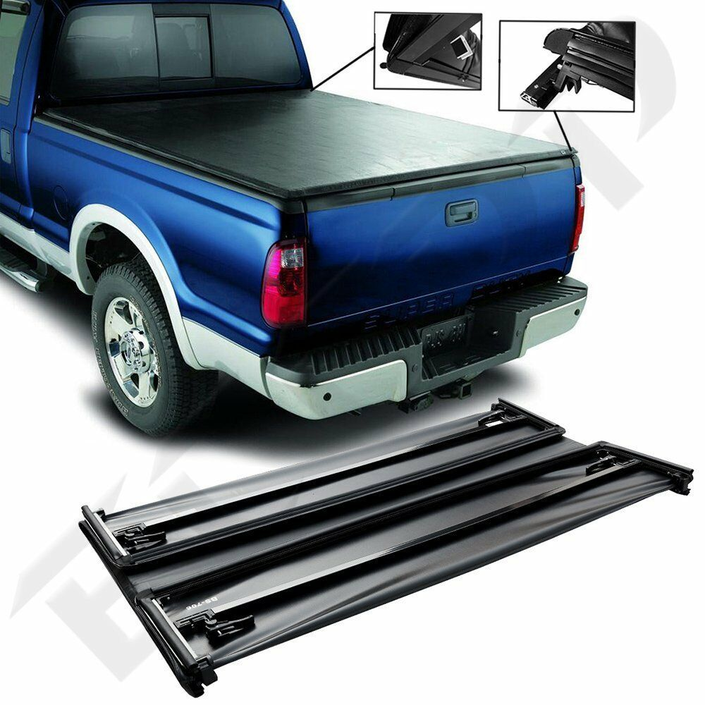Sponsored Ebay 5 5 Soft Four Fold Tonneau Cover Black Bed For 2007 2016 Tundra Double Cab Tonneau Cover Black Bedding Toyota Tacoma Double Cab