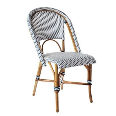 Great Blue And White Woven French Bistro Cafe Chair Plastic
