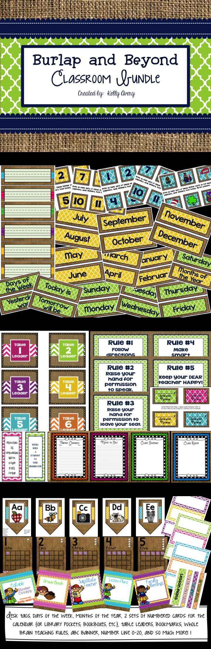 Burlap Themed Classroom Decor - This burlap themed classroom decor bundle includes everything a teacher needs to organize their classroom.  Click here to discover classroom printables guaranteed to give your classroom design on a dime!