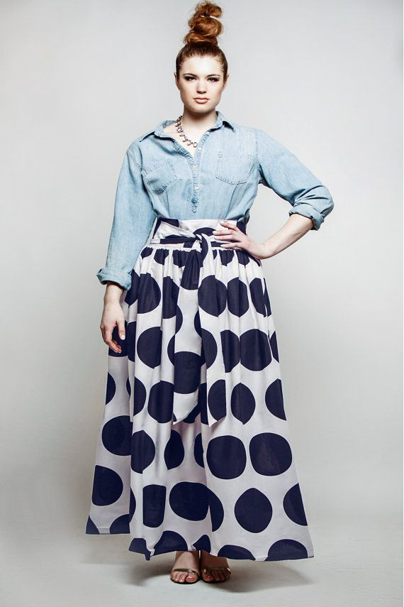 714c10b5344 JIBRI Plus Size High Waist Polka Dot Maxi Skirt (attached wrap belt ...