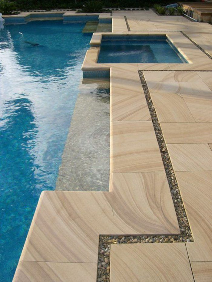 POOL COPING PAVERS With A Drop Face, Bullnose, Tumbled Edge All Non Slip In  Natural Stone