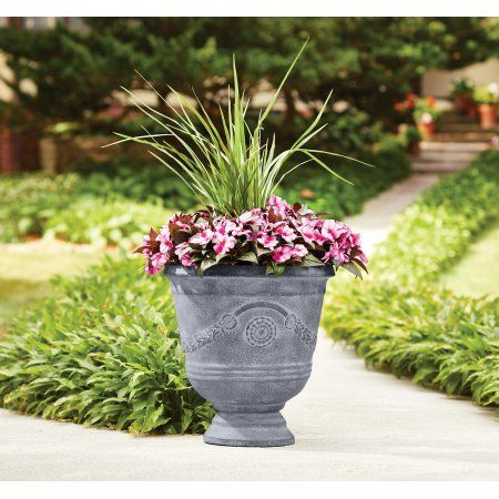 Better Homes And Gardens Greythorne 17 In Outdoor Urn Planter Set