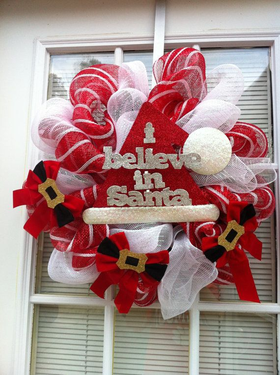 I Believe in Santa Mesh Wreath by KKsHandmadeWreaths on Etsy, $3500