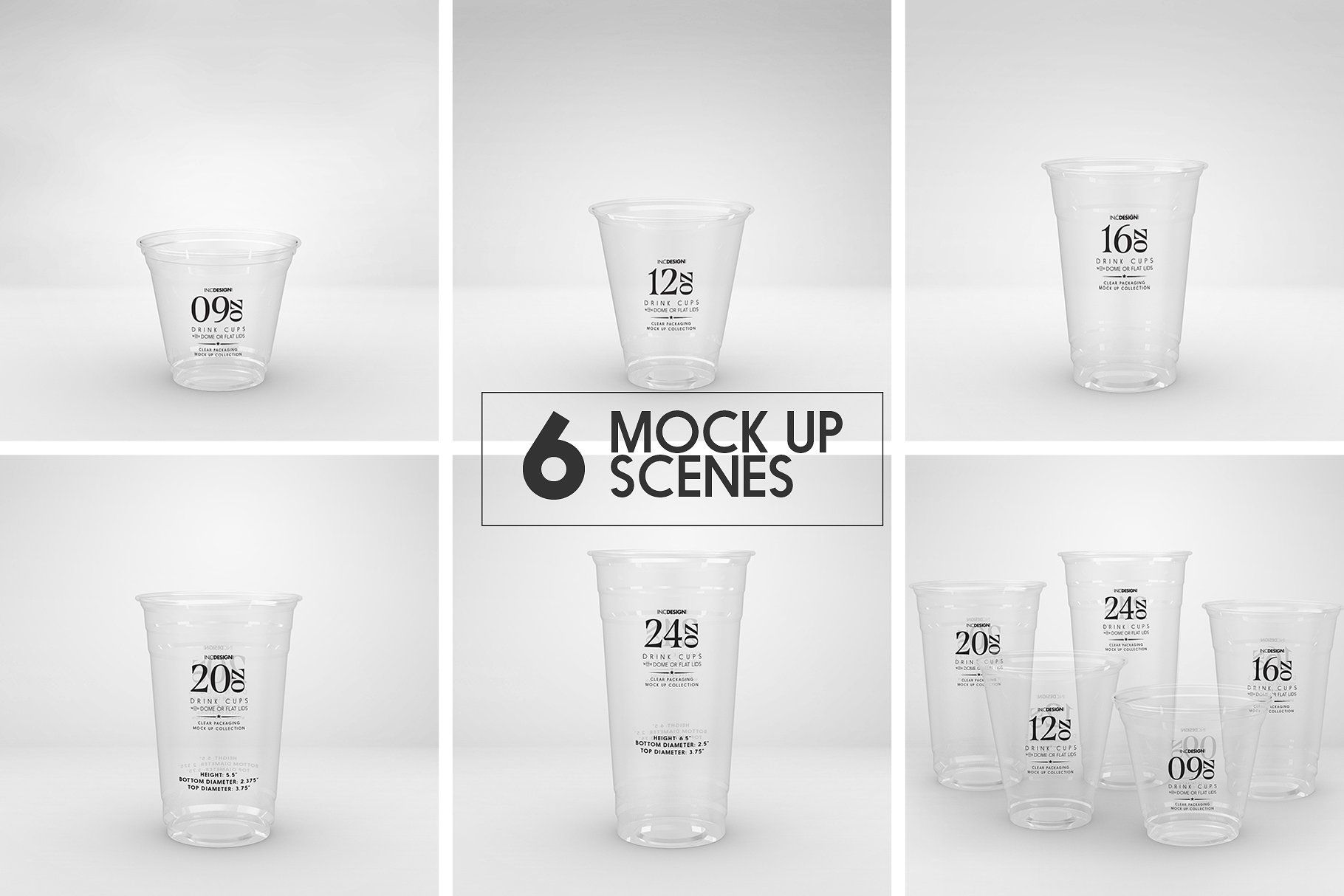 Clear Cold Drink Cups Mockup lidsdesignshow