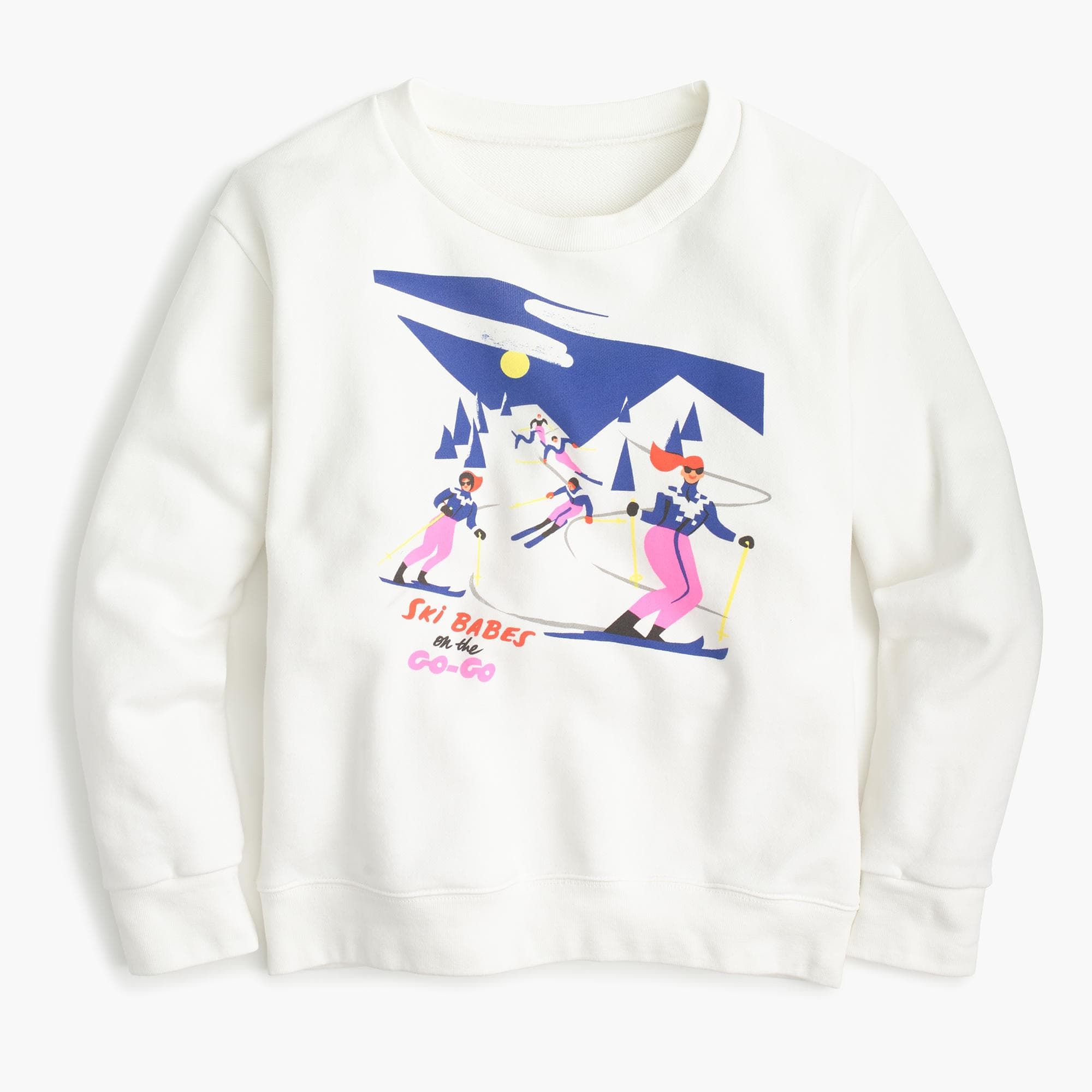 This graphic sweatshirt from Parisienne artist Virginie Morgand was inspired by 1950's ski brochures and will keep you warm and cozy even when you're nowhere near the slopes. Slim fit. Body length: 23. Cotton. Machine wash. Import.