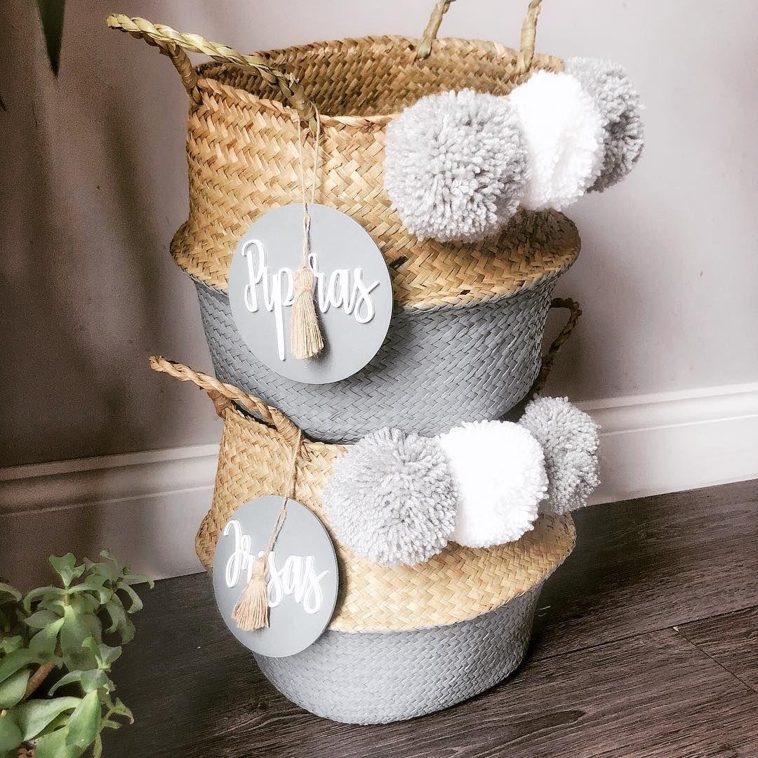 Personalised Dog Toy Storage Belly Basket With Pom Poms Tassel