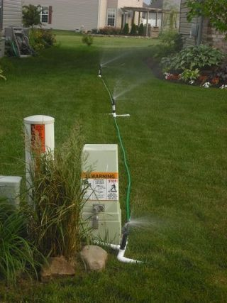 A Three Head Sprinkler For Odd Lawns Sprinkler Lawn Sprinklers Lawn Sprinkler System