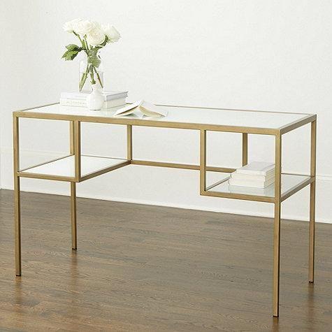white glass antique gold frame desk modern home office desk home office desks home. Black Bedroom Furniture Sets. Home Design Ideas