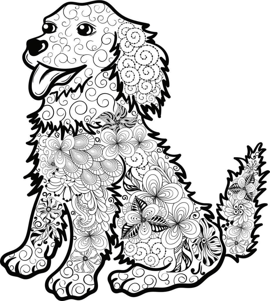 Kostenloses Ausmalbild Hund Welpe Die gratis Mandala Malvorlage einfach ausdrucken und ausmalen