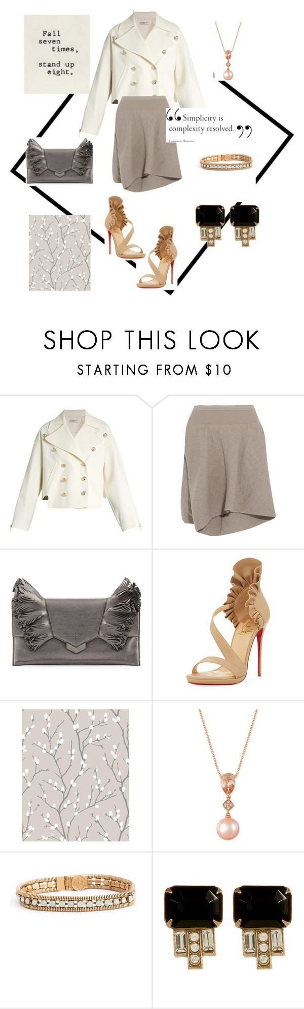 """Sin título #1181"" by na-ty-1 ❤ liked on Polyvore featuring Lanvin, Rick Owens, Jimmy Choo, Christian Louboutin, Roxy, LE VIAN and Loren Hope"