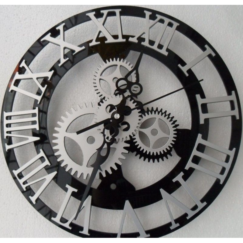 Roman Numeral Mechanical Gear Wall Clock Tattoo Old
