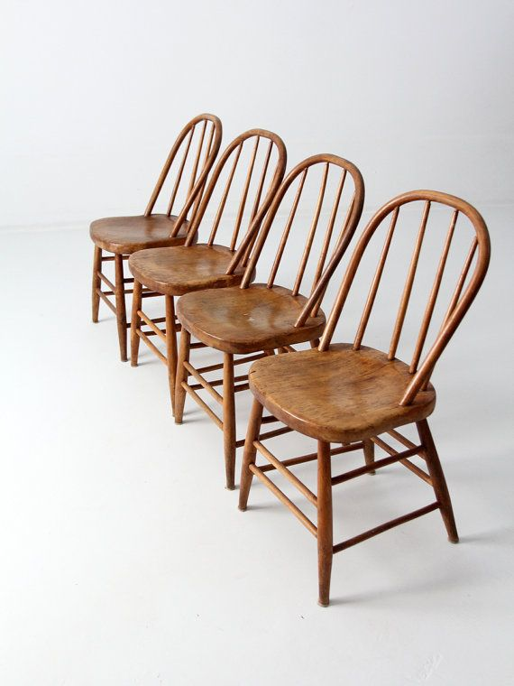 Sale Antique Spindle Bow Back Chair Set Of 4 Wood Dining Chairs Vintage Modern Kitchen Chair Chair Set