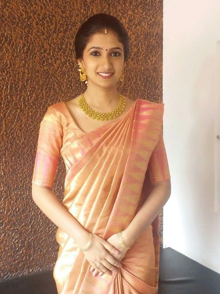 64be1cd92b75e Love the pleats   the drape! More. Peach sari Silk Saree ...