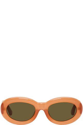 73439b1ce9c Dries Van Noten  Orange Linda Farrow Edition Oval 135 Sunglasses ...