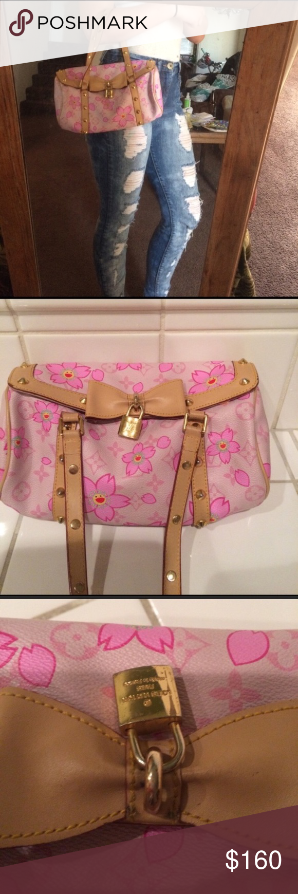 Louis Vuitton Pink Flower Smiley Face Purse Good Used Condition