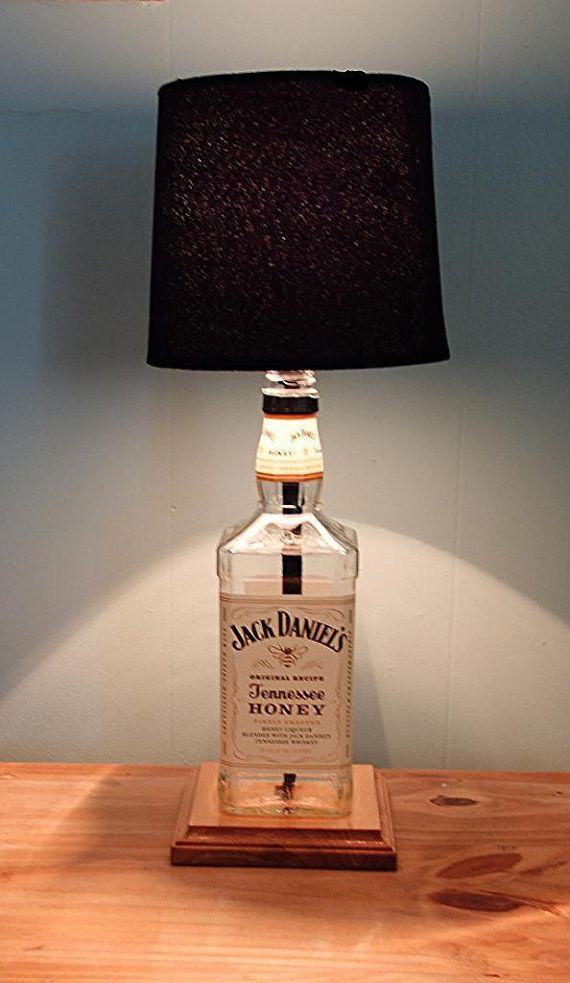Bar Lounge Decor Classic Honey Whiskey Liquor Bottle TABLE LAMP with Wood Base