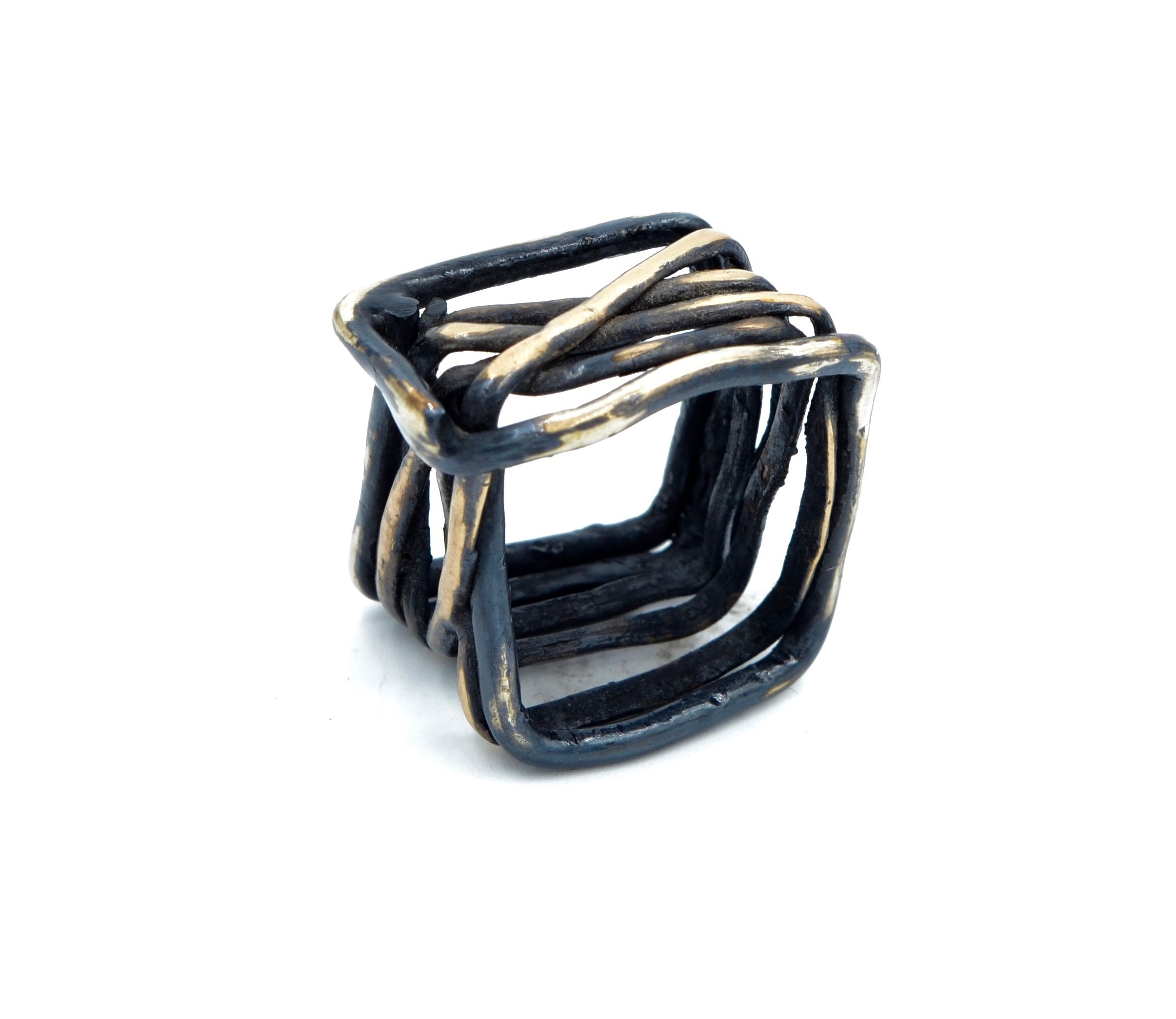 Oxidized Sterling silver and Brass square ring. MetalurJ