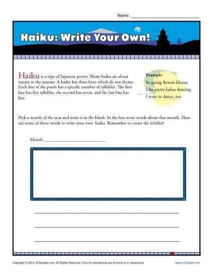 haiku write your own reading comprehension activities poetry write a haiku haiku. Black Bedroom Furniture Sets. Home Design Ideas