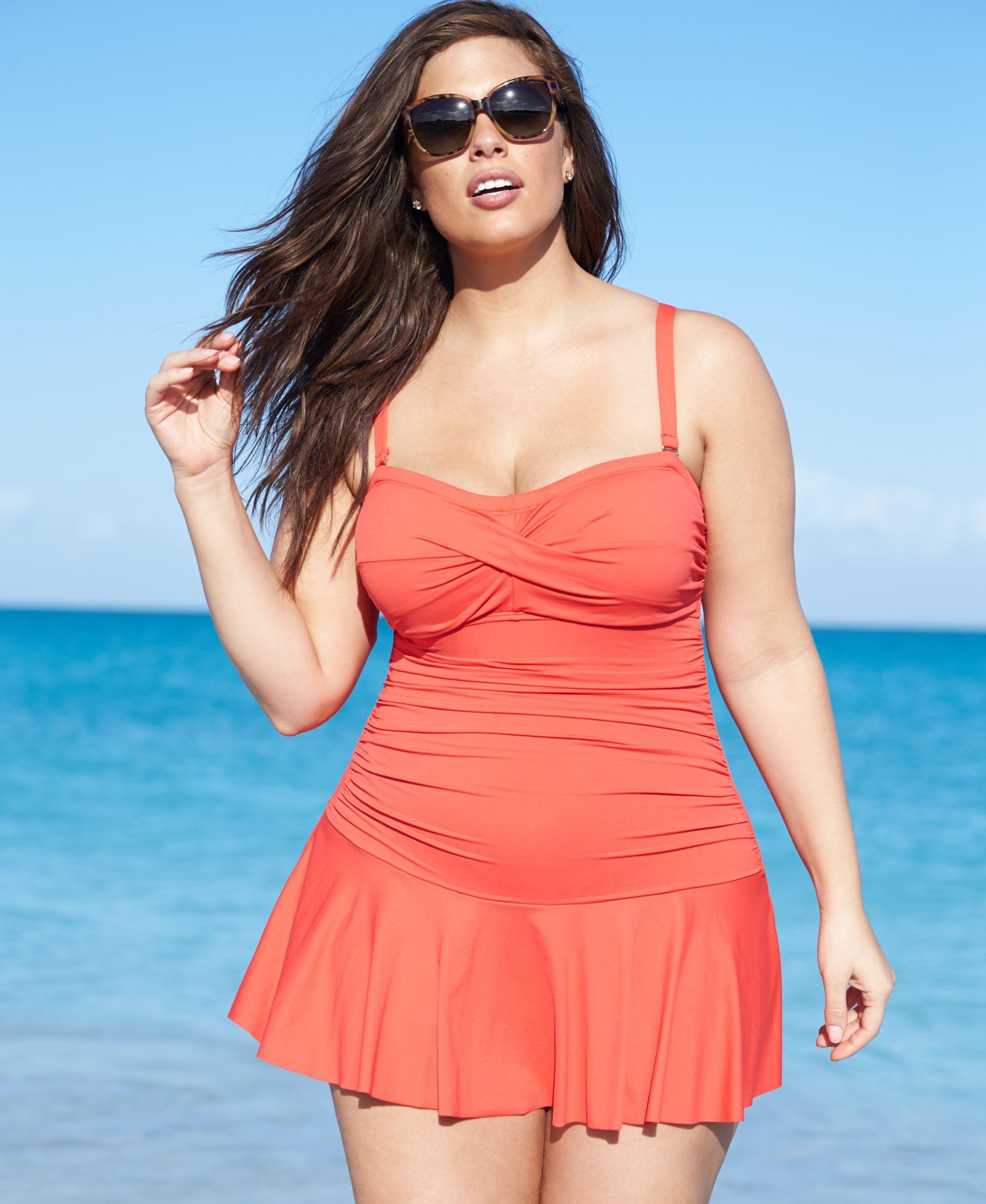 lauren ralph lauren plus size twist-front swimdress | katvizcla