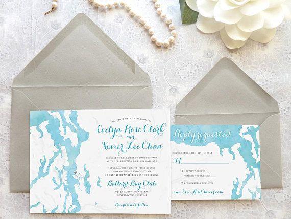 Bayside Puget Sound Wedding Invitations Seattle Northwest Waterfront Watercolor Summer