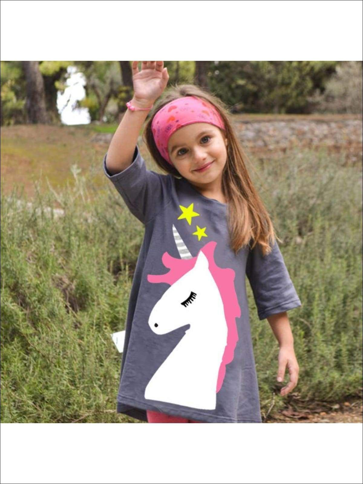 Photo of Girls Grey Unicorn Graphic Tunic Dress