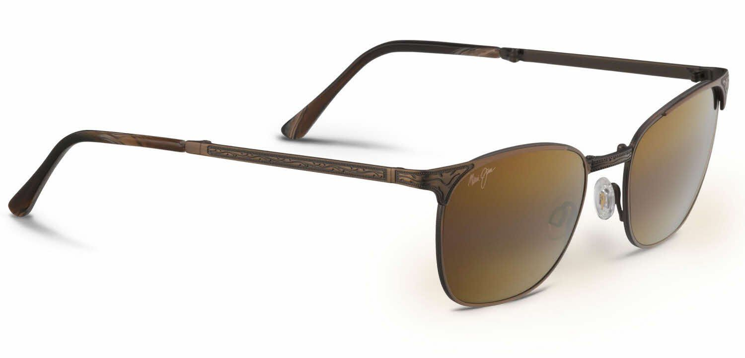 Maui Jim Stillwater Sunglasses Antique Gold/HCL Bronze H706-16C. Modified square with wider temples to fit larger heads. Saddle style, fixed bridge with embedded nose pads.
