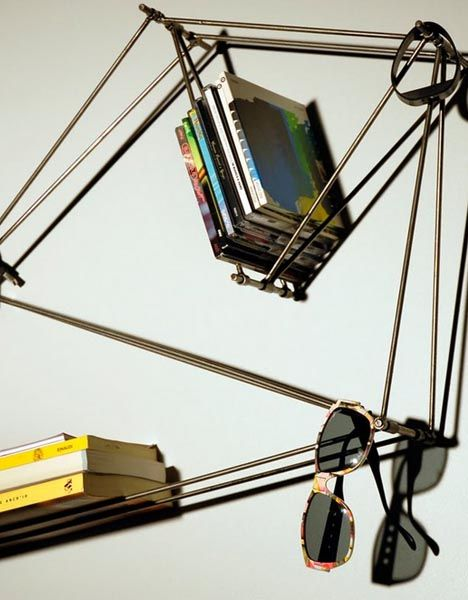 Modular Wire Frame Shelf From Wall Mounted Metal Rods Wall Shelves Design Frame Shelf Bookshelf Design