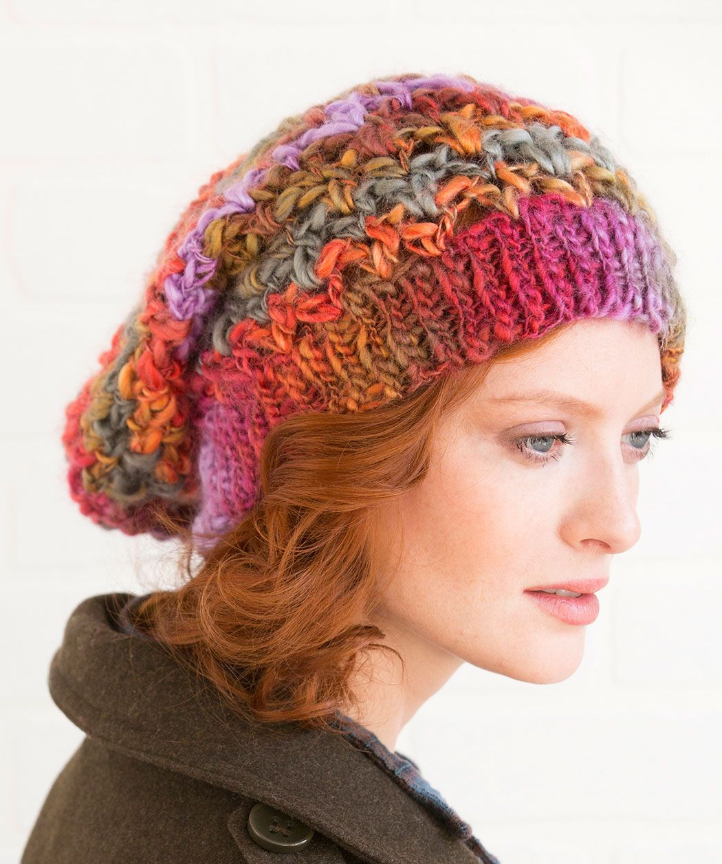 Upscale Slouchy Hat Free Crochet Pattern In Red Heart Yarns The