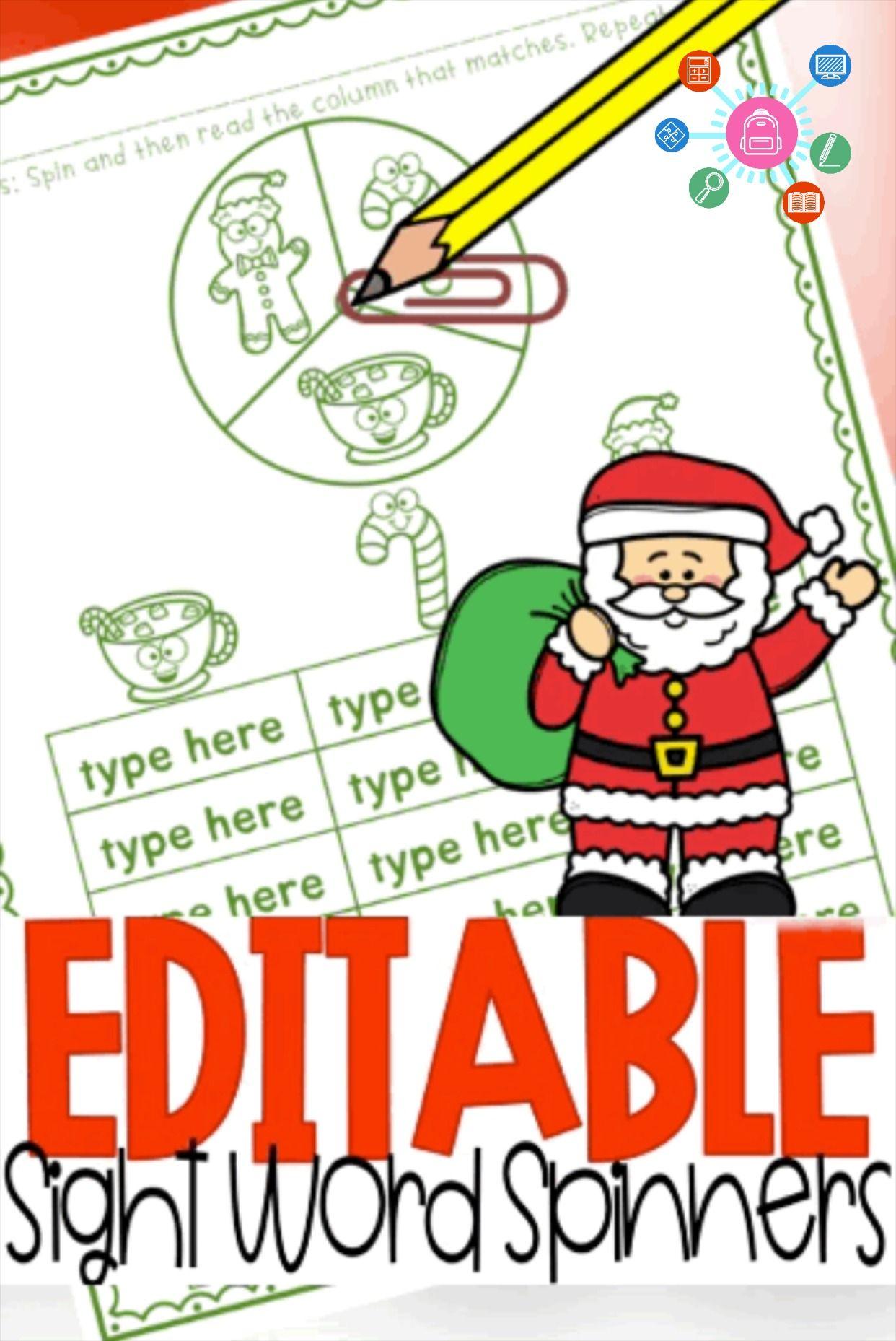 Sight Word Games Editable Christmas