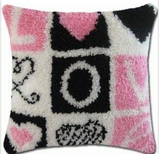Pink Black White Love Latch Hook Rug Kit Acyliz Yarn Pillows