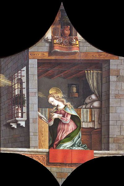 Carlo Crivelli - Vergine annunciata - cuspide?  Trittico di Camerino (Polittico di San Domenico di Camerino) - 1482-1483 - Francoforte, Städel